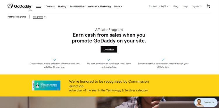Godaddy affiliate program