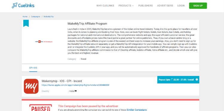 Makemytrip affiliate program
