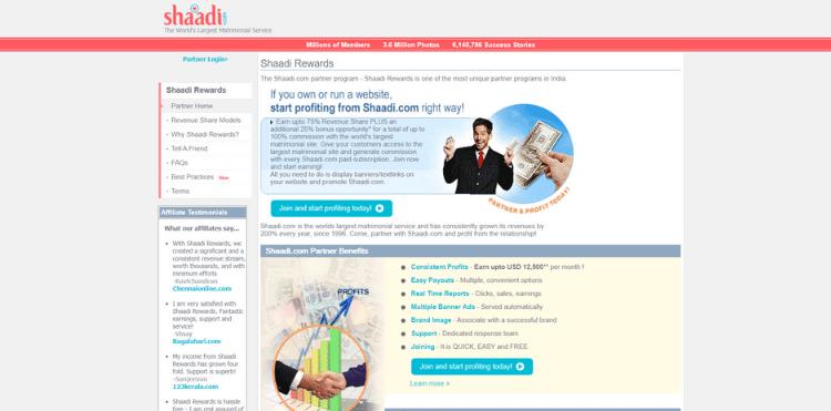 Shadi.com affiliate program